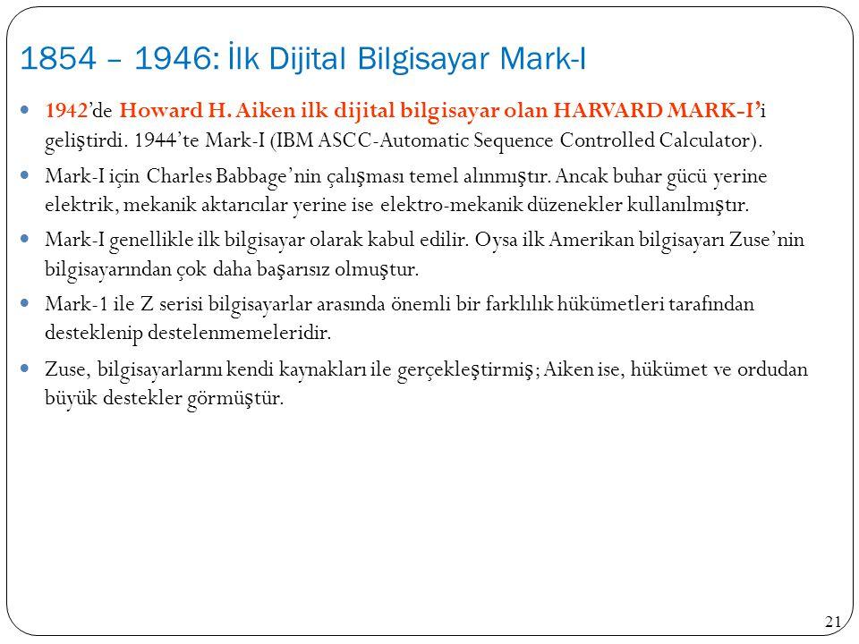 1854 – 1946: İlk Dijital Bilgisayar Mark-I