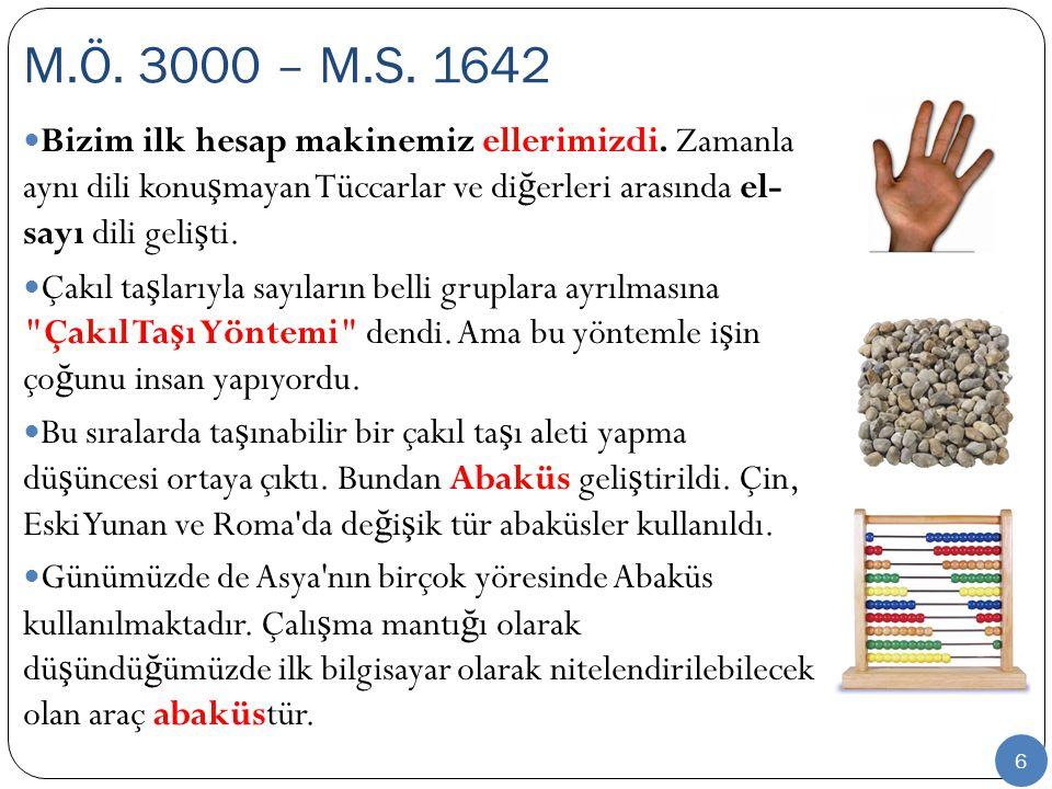 M.Ö. 3000 – M.S. 1642 Bizim ilk hesap makinemiz ellerimizdi. Zamanla aynı dili konuşmayan Tüccarlar ve diğerleri arasında el- sayı dili gelişti.
