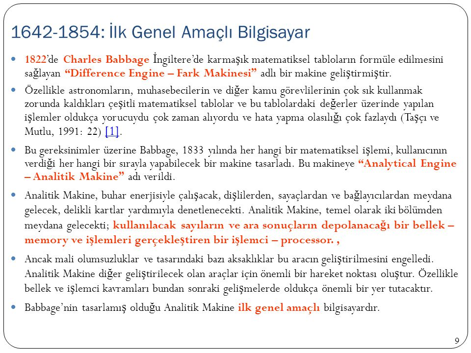 1642-1854: İlk Genel Amaçlı Bilgisayar