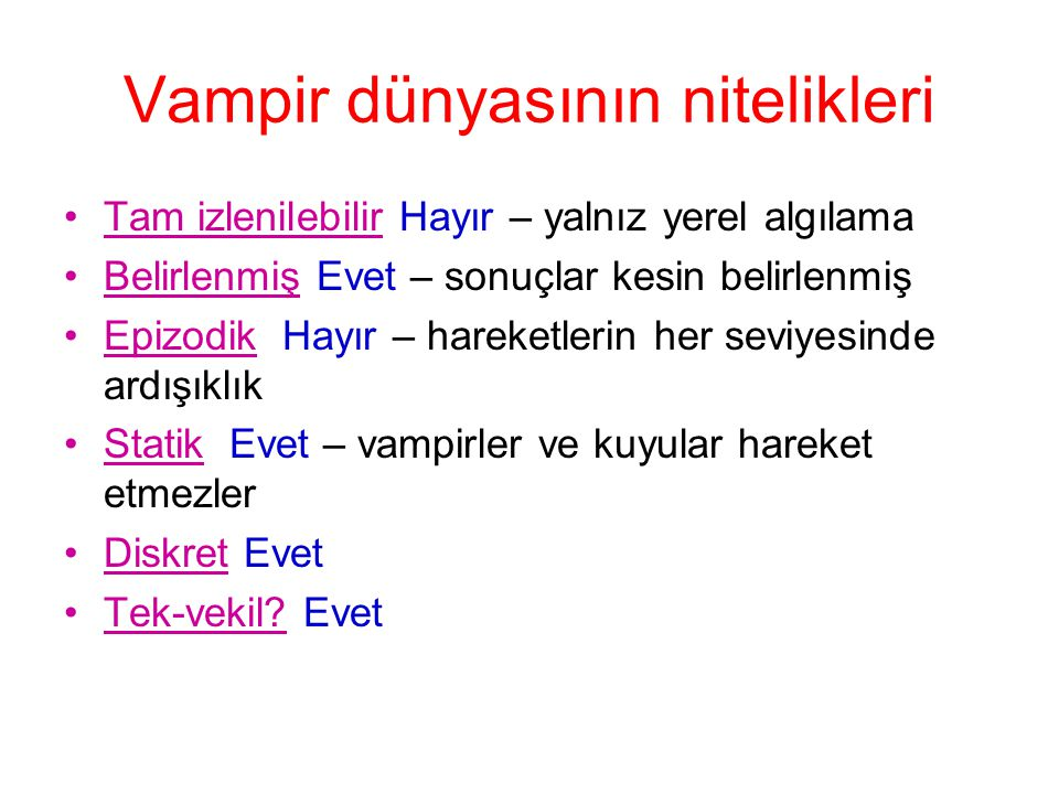 Vampir dünyasının nitelikleri