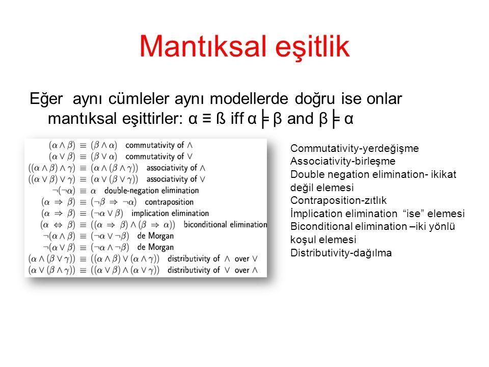 Mantıksal eşitlik Eğer aynı cümleler aynı modellerde doğru ise onlar mantıksal eşittirler: α ≡ ß iff α╞ β and β╞ α.