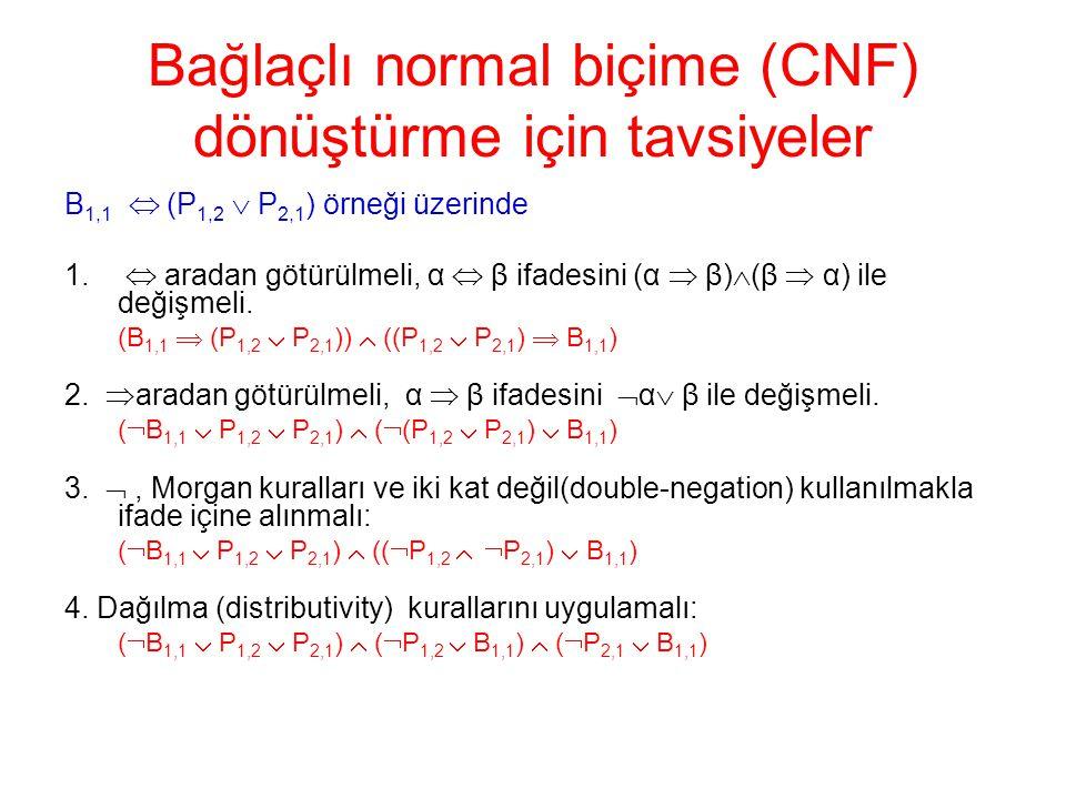 Bağlaçlı normal biçime (CNF) dönüştürme için tavsiyeler