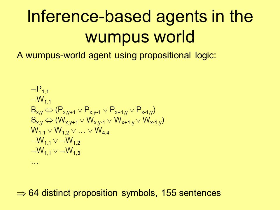 Inference-based agents in the wumpus world