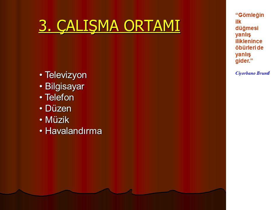 3. ÇALIŞMA ORTAMI Televizyon Bilgisayar Telefon Düzen Müzik