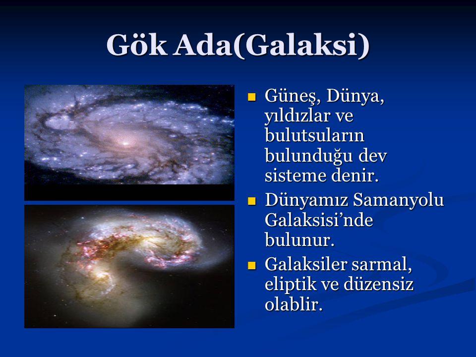 Gök Ada(Galaksi) Güneş, Dünya, yıldızlar ve bulutsuların bulunduğu dev sisteme denir. Dünyamız Samanyolu Galaksisi'nde bulunur.