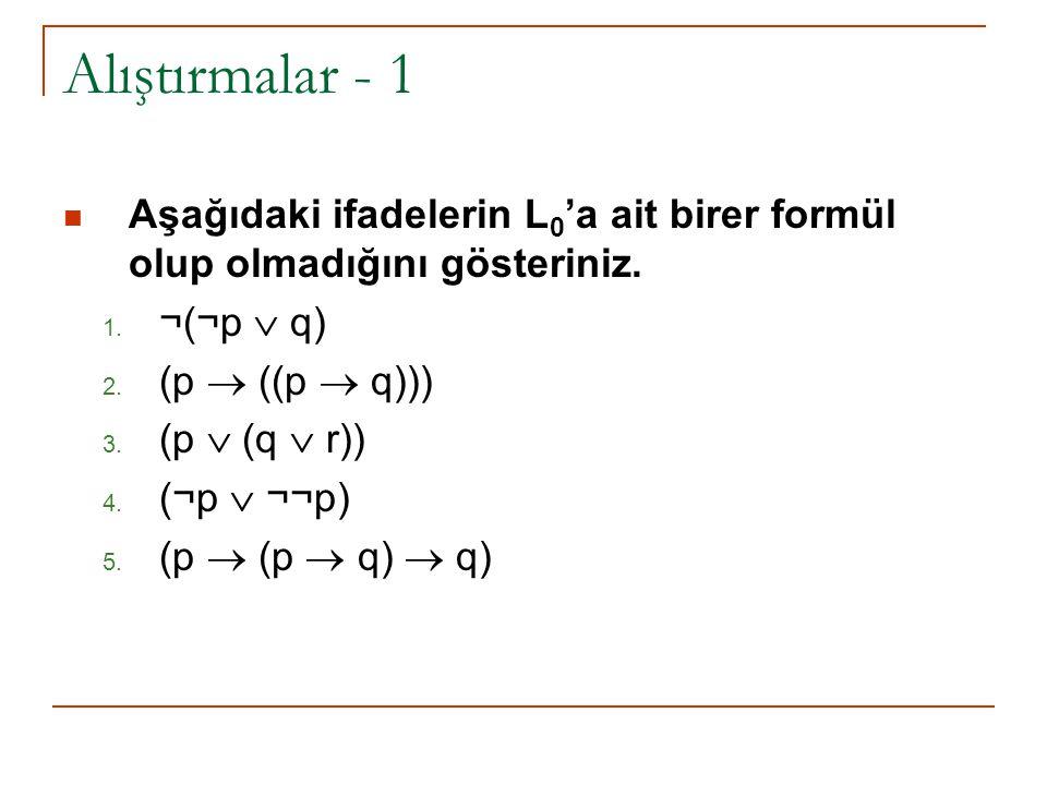 Alıştırmalar - 1 Aşağıdaki ifadelerin L0'a ait birer formül olup olmadığını gösteriniz. ¬(¬p  q) (p  ((p  q)))