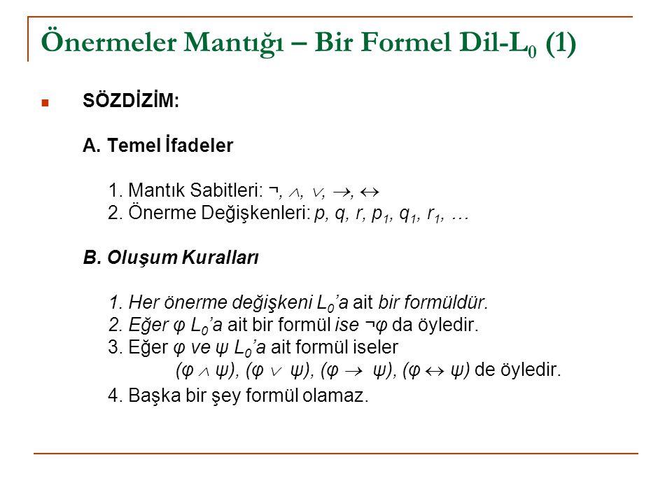 Önermeler Mantığı – Bir Formel Dil-L0 (1)