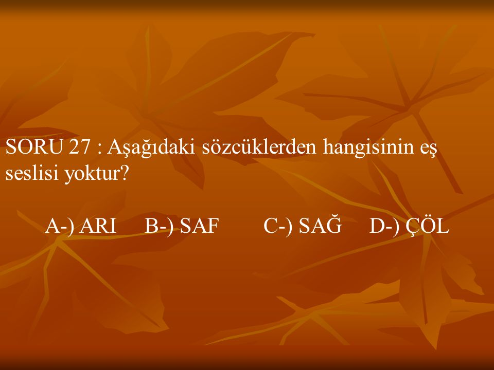 A-) ARI B-) SAF C-) SAĞ D-) ÇÖL