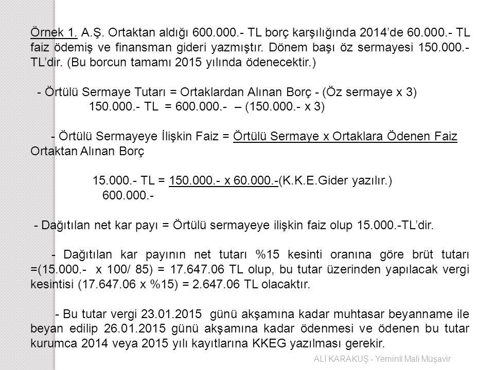 - Örtülü Sermaye Tutarı = Ortaklardan Alınan Borç - (Öz sermaye x 3)