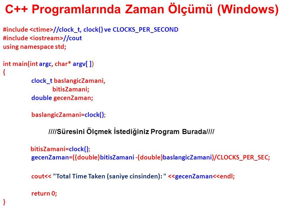 C++ Programlarında Zaman Ölçümü (Windows)