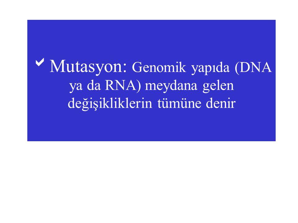 Mutasyon: Genomik yapıda (DNA ya da RNA) meydana gelen değişikliklerin tümüne denir