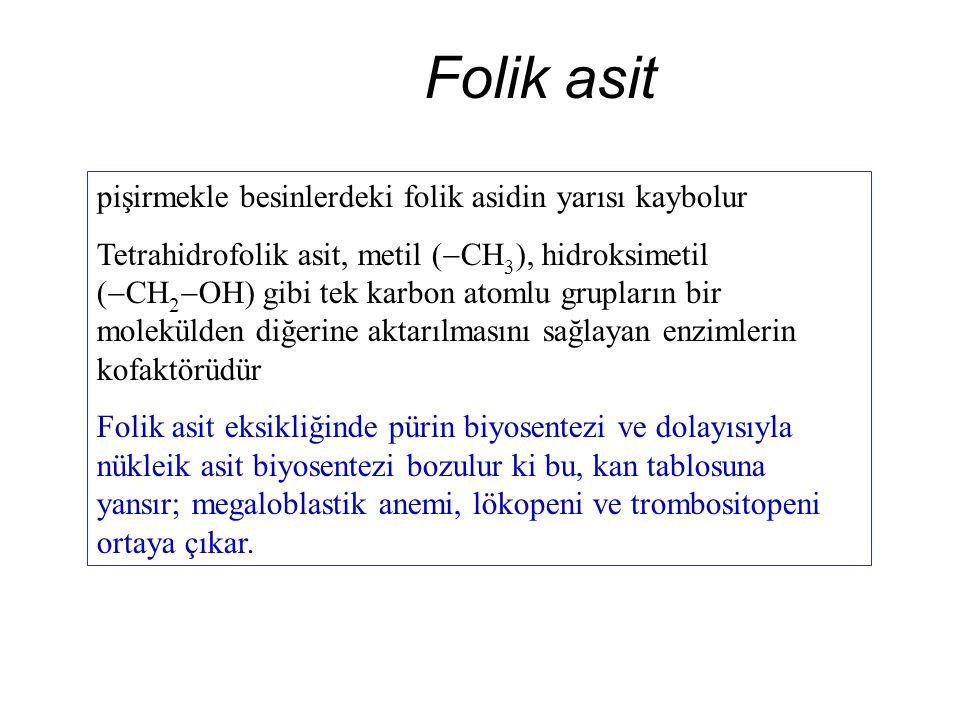 Folik asit pişirmekle besinlerdeki folik asidin yarısı kaybolur