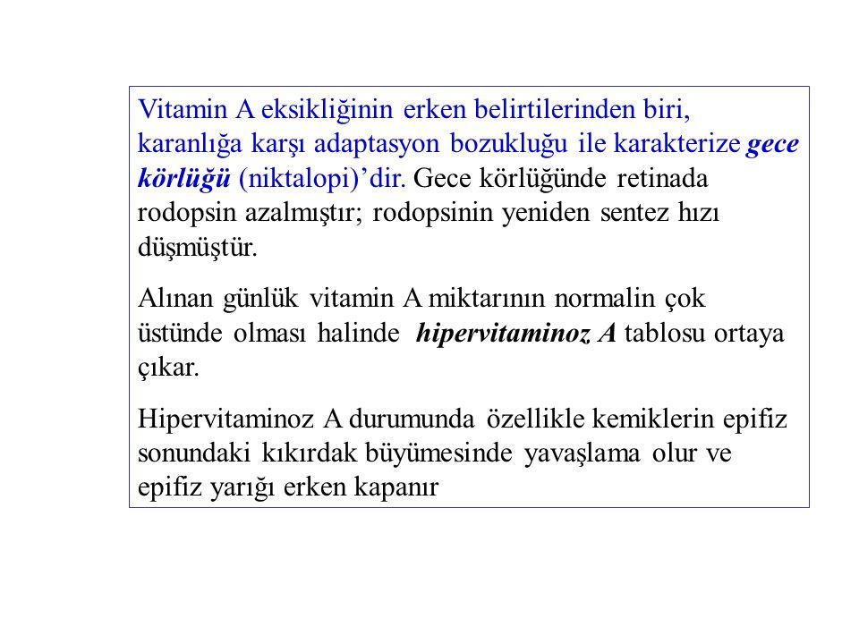 Vitamin A eksikliğinin erken belirtilerinden biri, karanlığa karşı adaptasyon bozukluğu ile karakterize gece körlüğü (niktalopi)'dir. Gece körlüğünde retinada rodopsin azalmıştır; rodopsinin yeniden sentez hızı düşmüştür.
