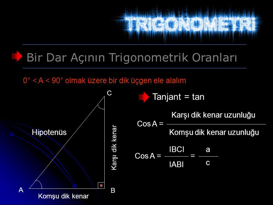 Bir Dar Açının Trigonometrik Oranları