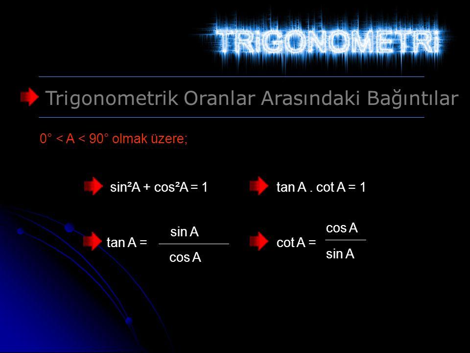 Trigonometrik Oranlar Arasındaki Bağıntılar