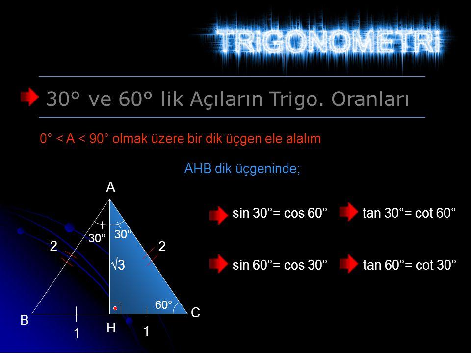 30° ve 60° lik Açıların Trigo. Oranları