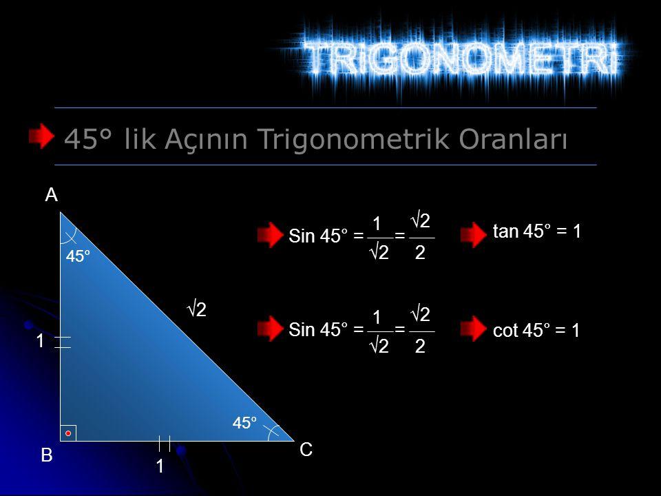 45° lik Açının Trigonometrik Oranları