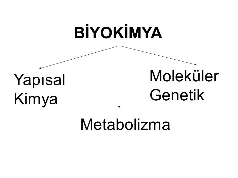 BİYOKİMYA Moleküler Genetik Yapısal Kimya Metabolizma