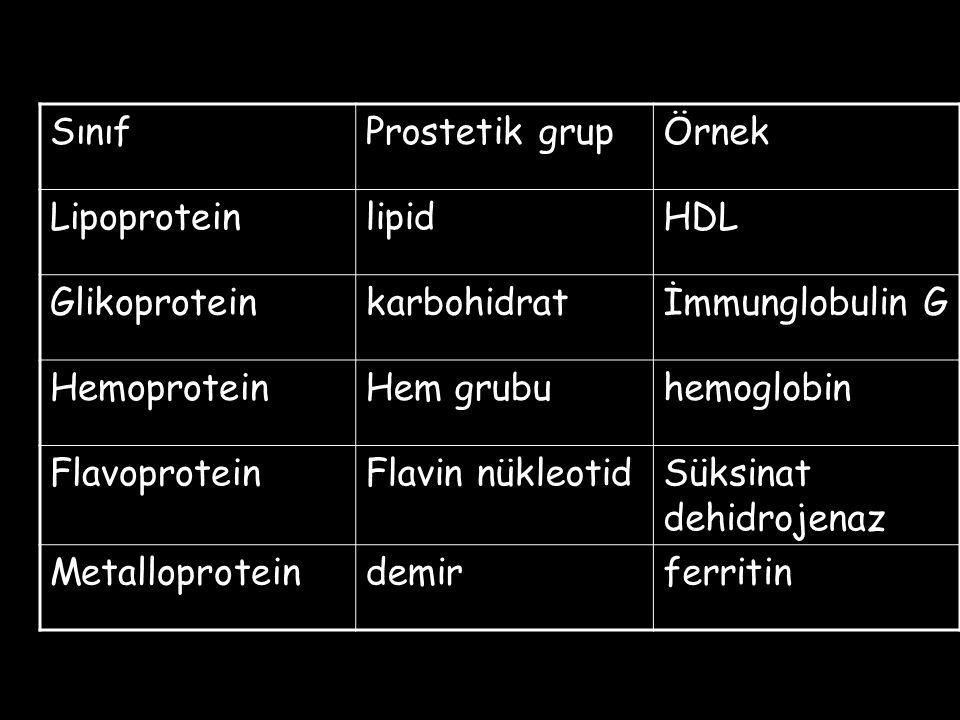 Sınıf Prostetik grup. Örnek. Lipoprotein. lipid. HDL. Glikoprotein. karbohidrat. İmmunglobulin G.