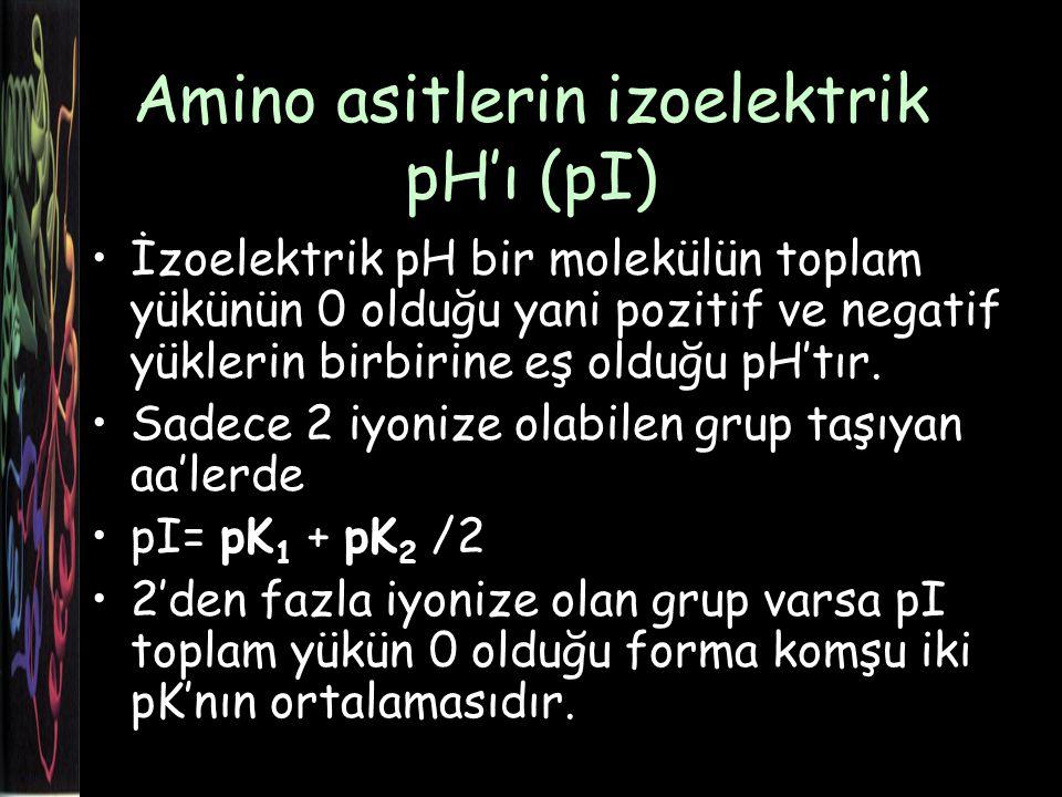 Amino asitlerin izoelektrik pH'ı (pI)
