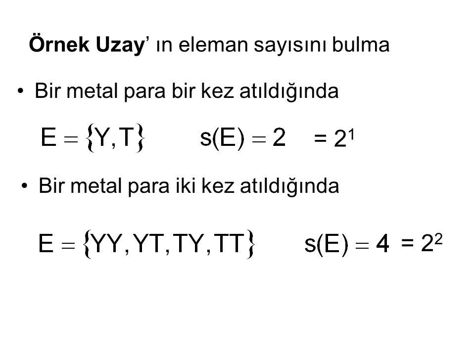 Örnek Uzay' ın eleman sayısını bulma