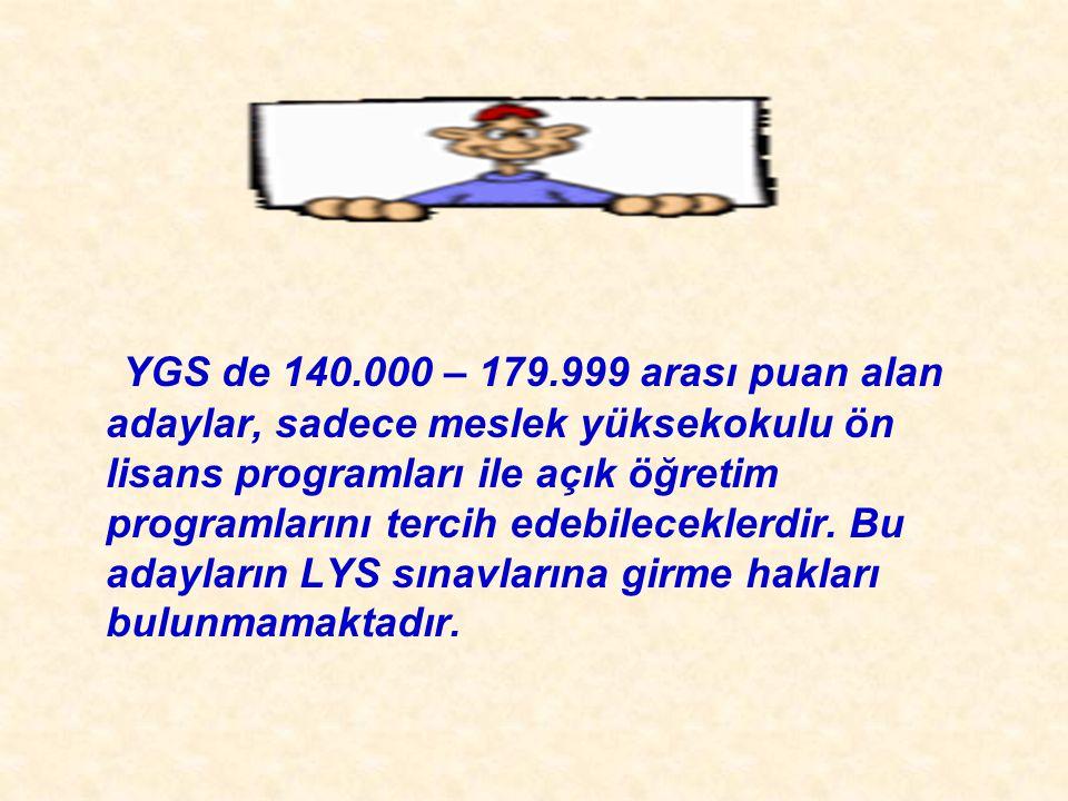 YGS de 140.000 – 179.999 arası puan alan adaylar, sadece meslek yüksekokulu ön lisans programları ile açık öğretim programlarını tercih edebileceklerdir.
