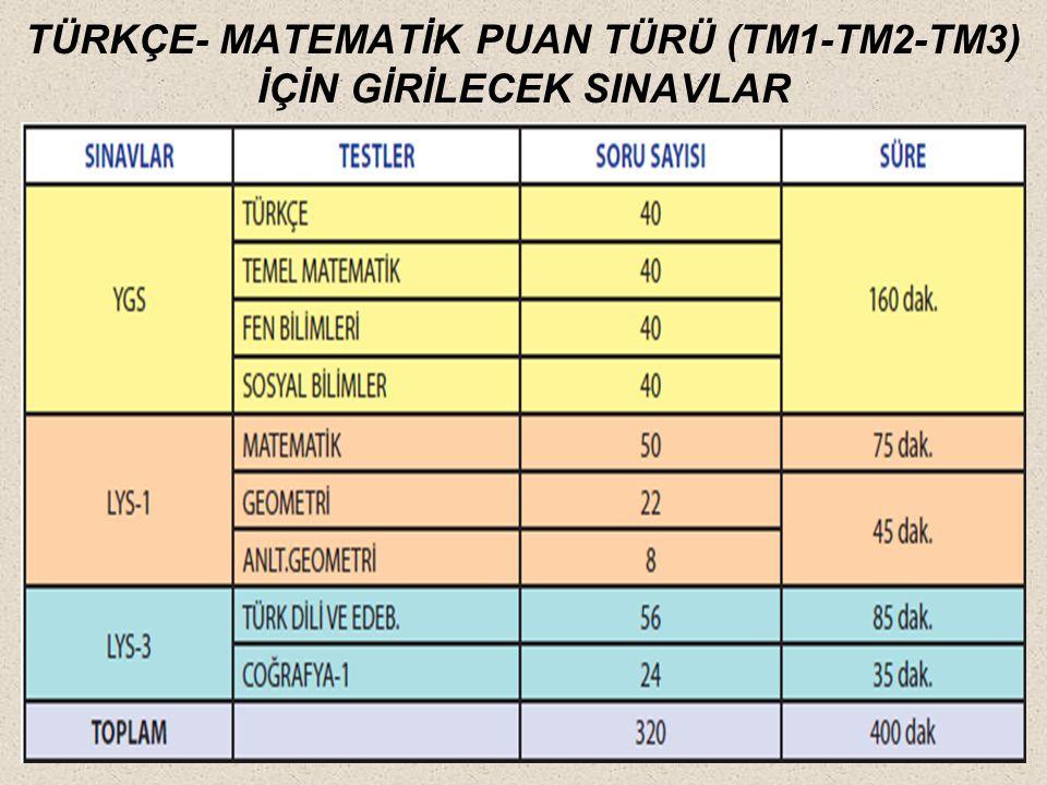 TÜRKÇE- MATEMATİK PUAN TÜRÜ (TM1-TM2-TM3) İÇİN GİRİLECEK SINAVLAR