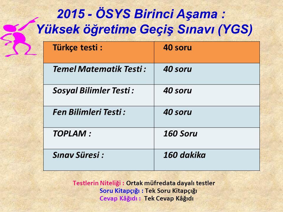 2015 - ÖSYS Birinci Aşama : Yüksek öğretime Geçiş Sınavı (YGS)
