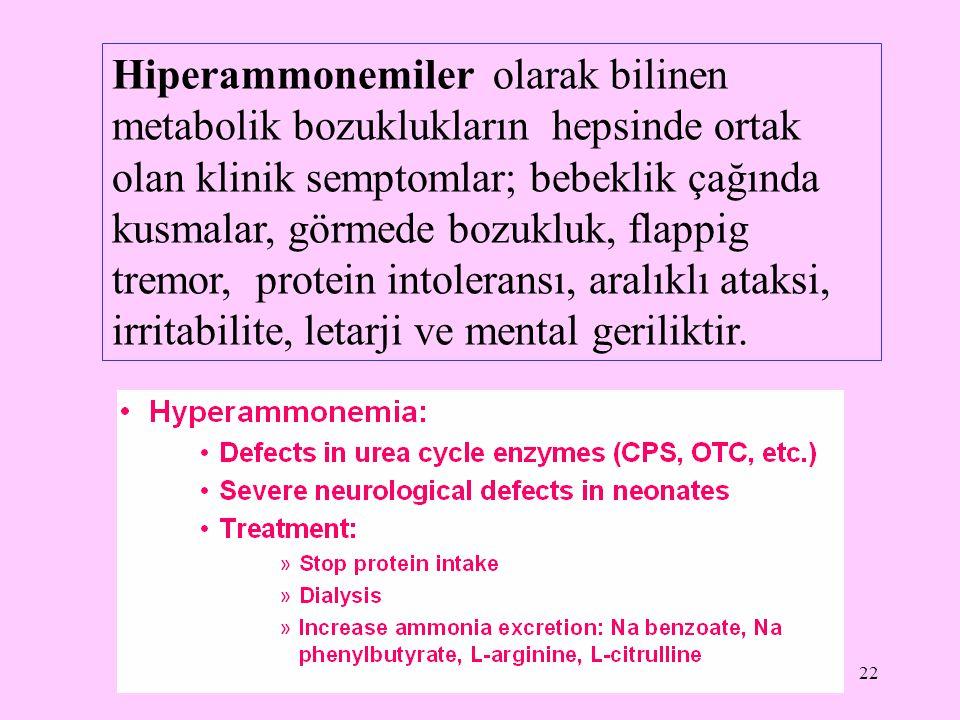 Hiperammonemiler olarak bilinen metabolik bozuklukların hepsinde ortak olan klinik semptomlar; bebeklik çağında kusmalar, görmede bozukluk, flappig tremor, protein intoleransı, aralıklı ataksi, irritabilite, letarji ve mental geriliktir.