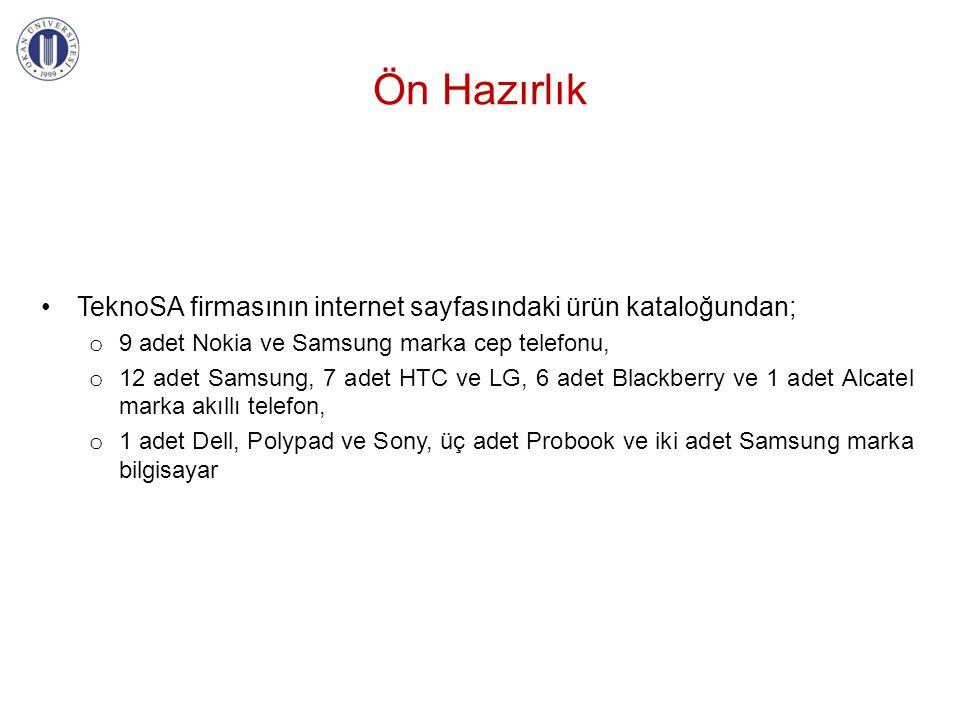 Ön Hazırlık TeknoSA firmasının internet sayfasındaki ürün kataloğundan; 9 adet Nokia ve Samsung marka cep telefonu,