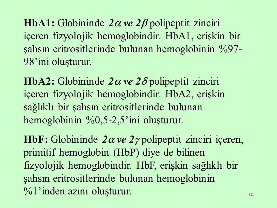 HbA1: Globininde 2 ve 2 polipeptit zinciri içeren fizyolojik hemoglobindir. HbA1, erişkin bir şahsın eritrositlerinde bulunan hemoglobinin %97-98'ini oluşturur.