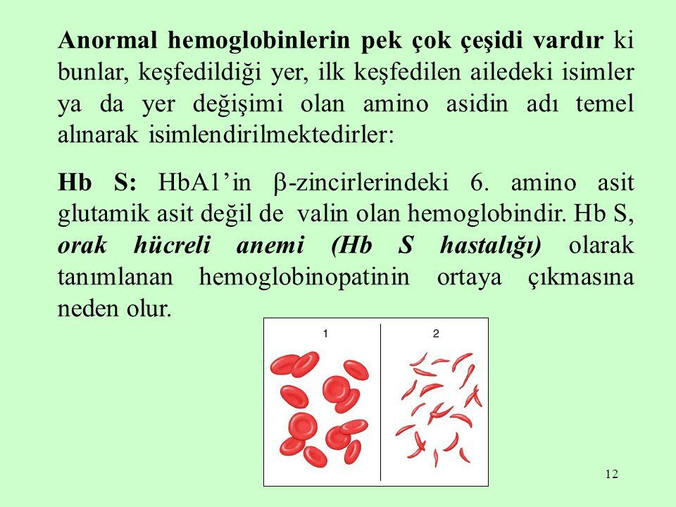 Anormal hemoglobinlerin pek çok çeşidi vardır ki bunlar, keşfedildiği yer, ilk keşfedilen ailedeki isimler ya da yer değişimi olan amino asidin adı temel alınarak isimlendirilmektedirler: