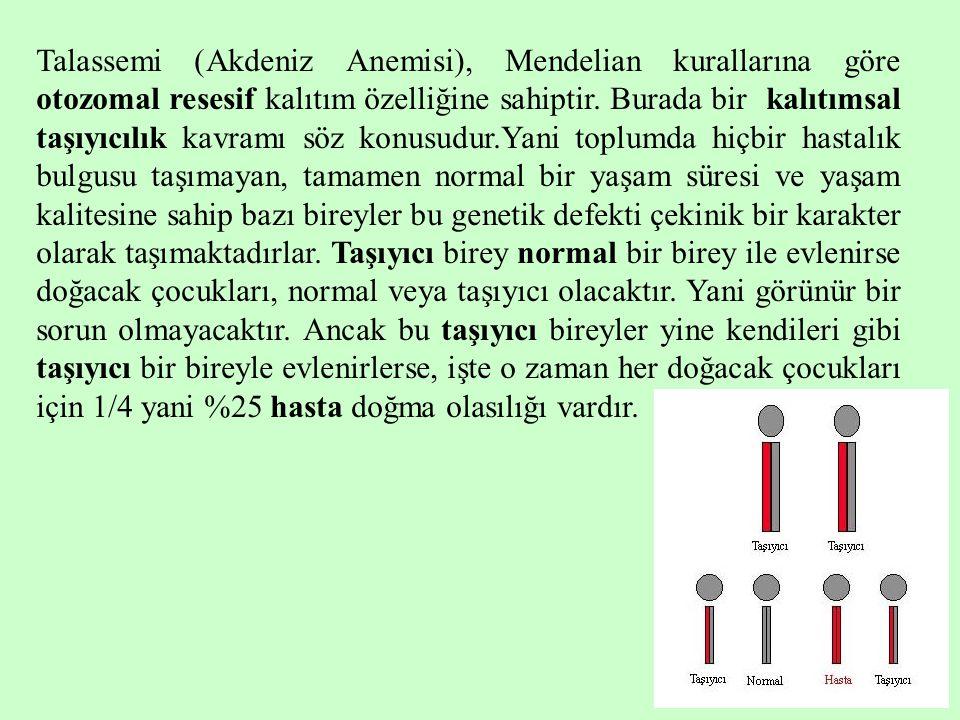 Talassemi (Akdeniz Anemisi), Mendelian kurallarına göre otozomal resesif kalıtım özelliğine sahiptir.