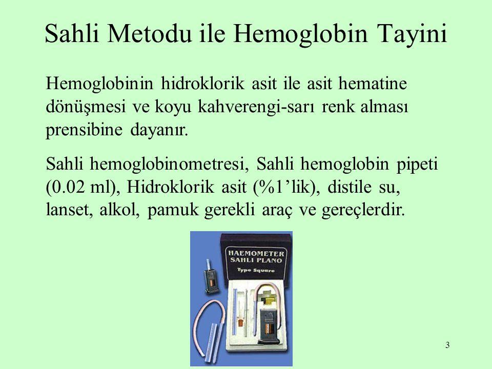 Sahli Metodu ile Hemoglobin Tayini