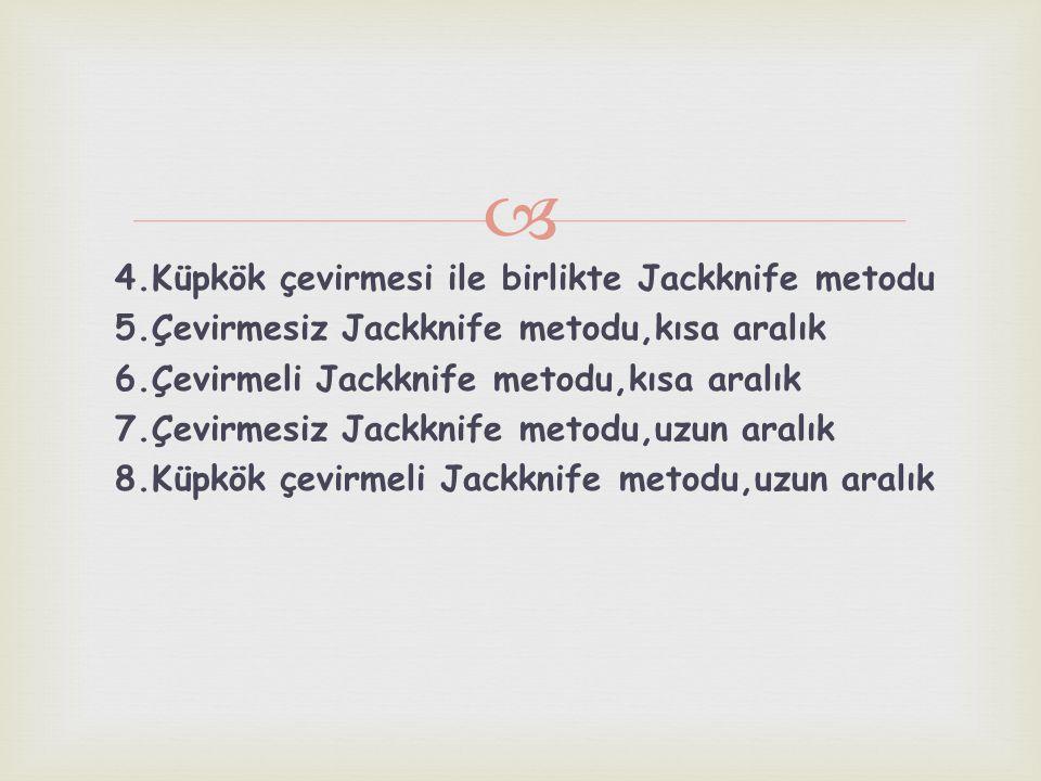 4. Küpkök çevirmesi ile birlikte Jackknife metodu 5