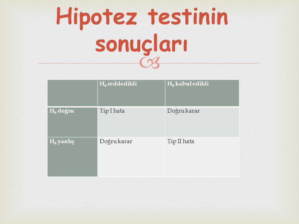 Hipotez testinin sonuçları