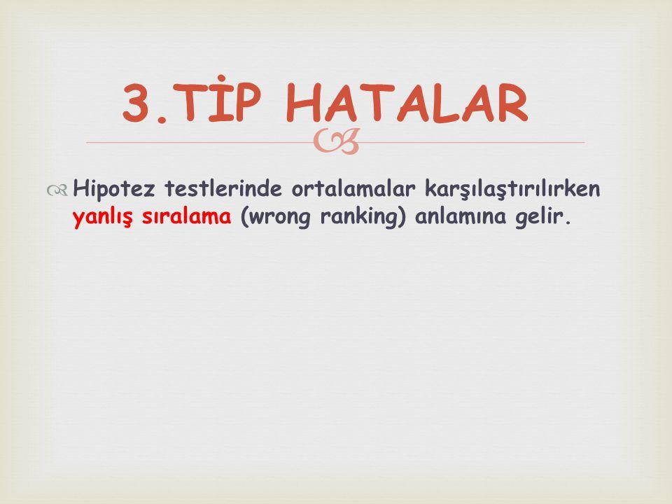 3.TİP HATALAR Hipotez testlerinde ortalamalar karşılaştırılırken yanlış sıralama (wrong ranking) anlamına gelir.
