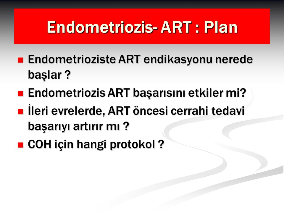 Endometriozis- ART : Plan