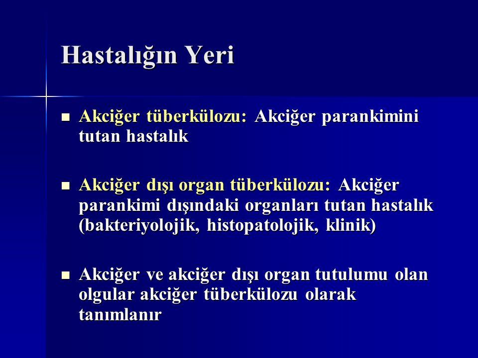 Hastalığın Yeri Akciğer tüberkülozu: Akciğer parankimini tutan hastalık.