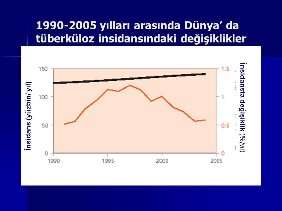 1990-2005 yılları arasında Dünya' da tüberküloz insidansındaki değişiklikler