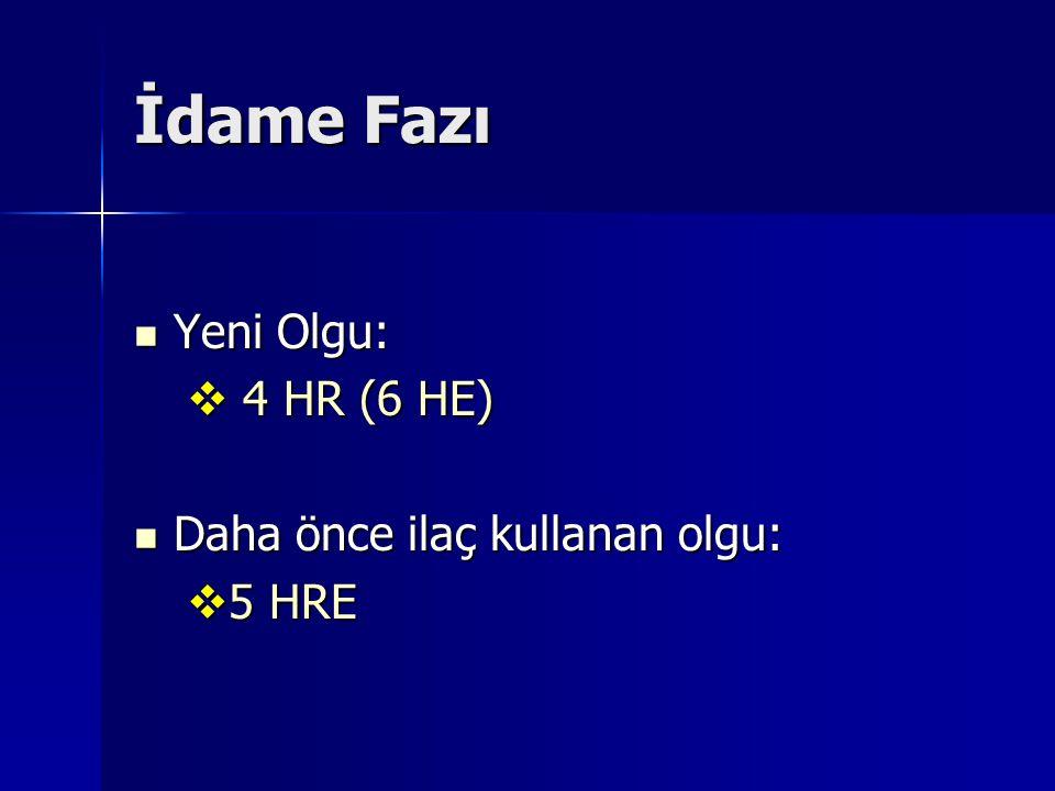 İdame Fazı Yeni Olgu: 4 HR (6 HE) Daha önce ilaç kullanan olgu: 5 HRE