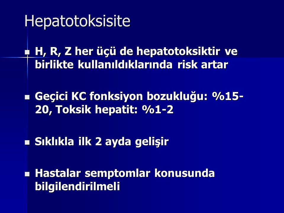 Hepatotoksisite H, R, Z her üçü de hepatotoksiktir ve birlikte kullanıldıklarında risk artar.