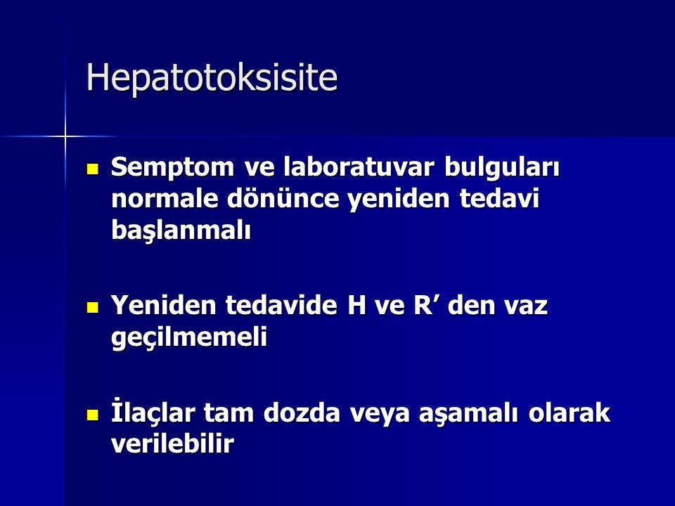 Hepatotoksisite Semptom ve laboratuvar bulguları normale dönünce yeniden tedavi başlanmalı. Yeniden tedavide H ve R' den vaz geçilmemeli.