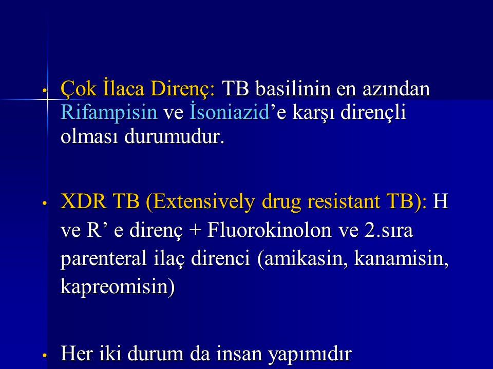 Çok İlaca Direnç: TB basilinin en azından Rifampisin ve İsoniazid'e karşı dirençli olması durumudur.