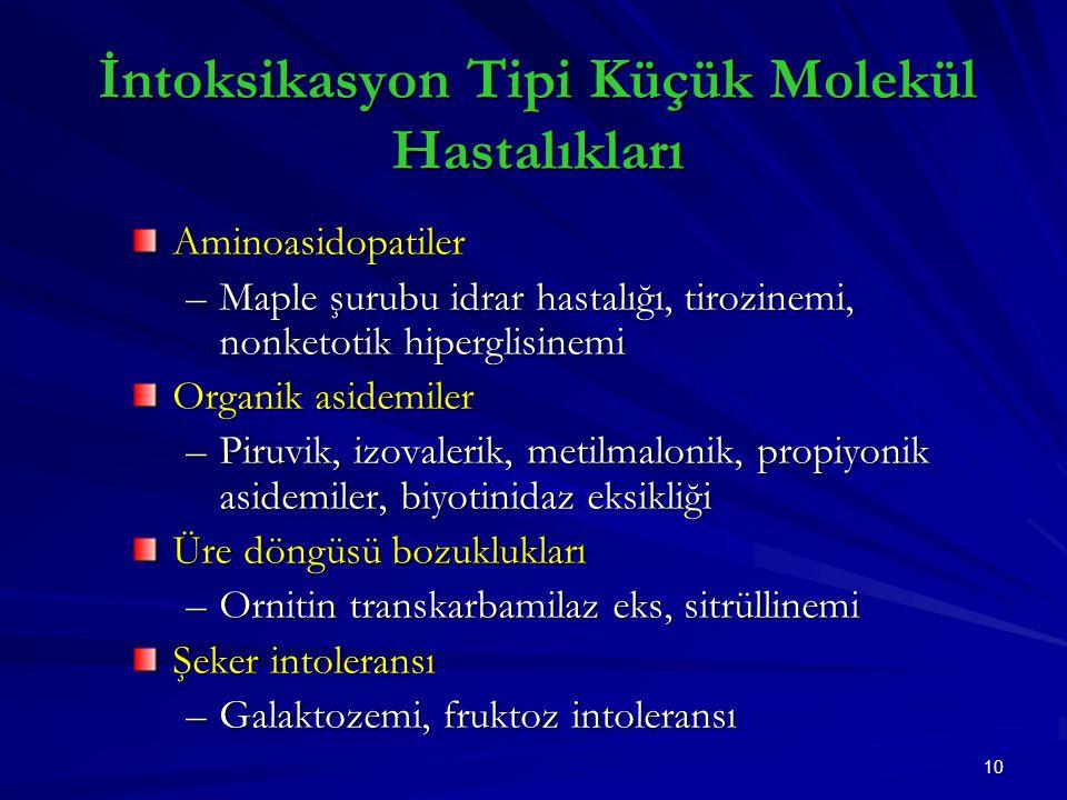 İntoksikasyon Tipi Küçük Molekül Hastalıkları
