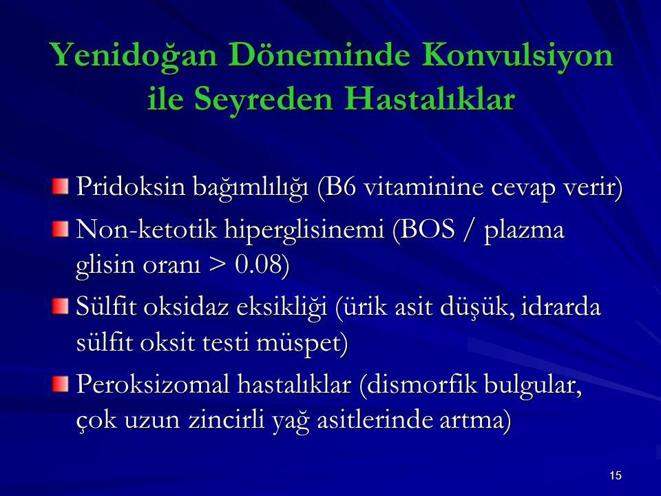 Yenidoğan Döneminde Konvulsiyon ile Seyreden Hastalıklar