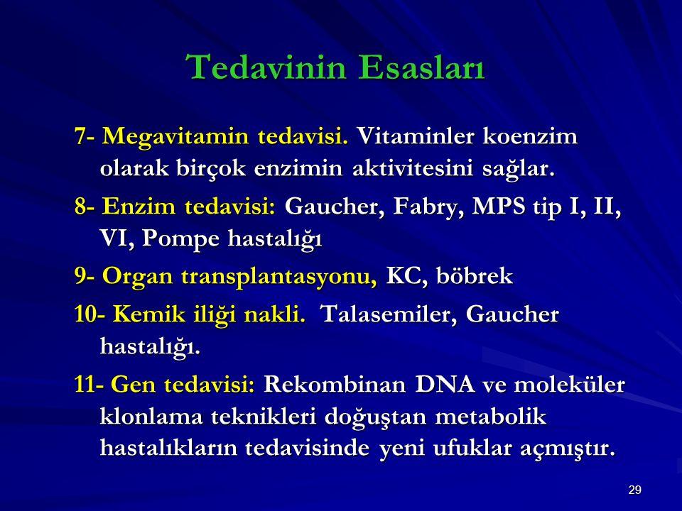 Tedavinin Esasları 7- Megavitamin tedavisi. Vitaminler koenzim olarak birçok enzimin aktivitesini sağlar.