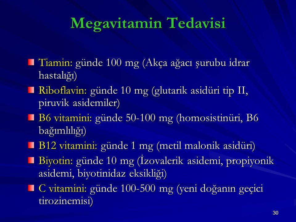 Megavitamin Tedavisi Tiamin: günde 100 mg (Akça ağacı şurubu idrar hastalığı) Riboflavin: günde 10 mg (glutarik asidüri tip II, piruvik asidemiler)
