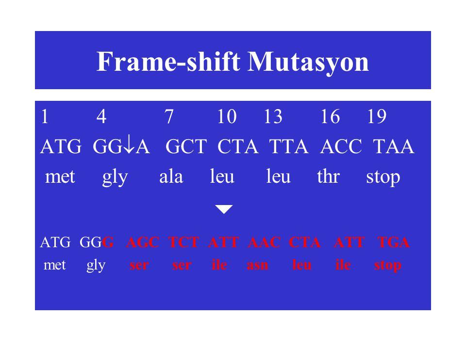 Frame-shift Mutasyon 1 4 7 10 13 16 19 ATG GGA GCT CTA TTA ACC TAA
