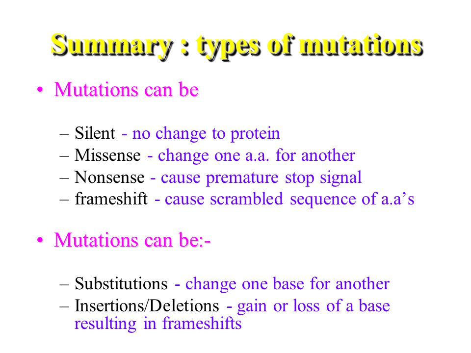 Summary : types of mutations